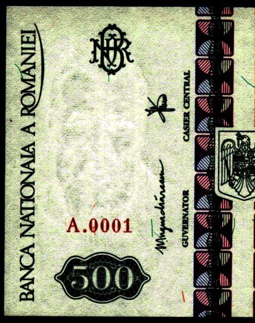a632 ROMANIA 500 LEI 1992 P101a WATERMARK FACING CONSTANTIN BRANCUSI NOTE UNC