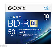 10 Sony Bluray DVD Video Discs BD-R DL 50GB Printable Bluray Region Free