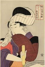 UW»Estampe japonaise Utamaro courtisane 62 G04