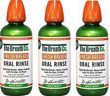 3 x The Breath Co Fresh Breath Oral Rinse 500 ml Mild Mint (Bad Breath)