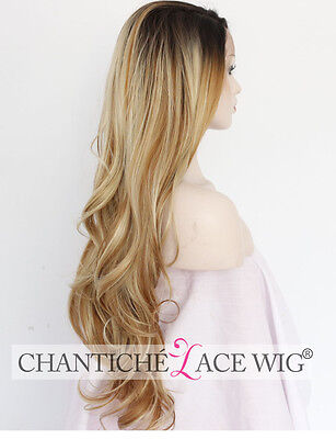 Highlights Ombre Blonde Synthetic Lace Front Wig Natural Long Wavy Synthetic Wig