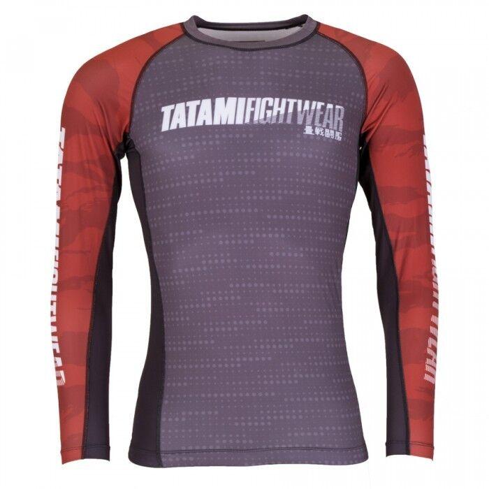 Tatami Grey Particle Rash Guard Rashguard Red BJJ No-Gi MMA Jiu Jitsu Gym