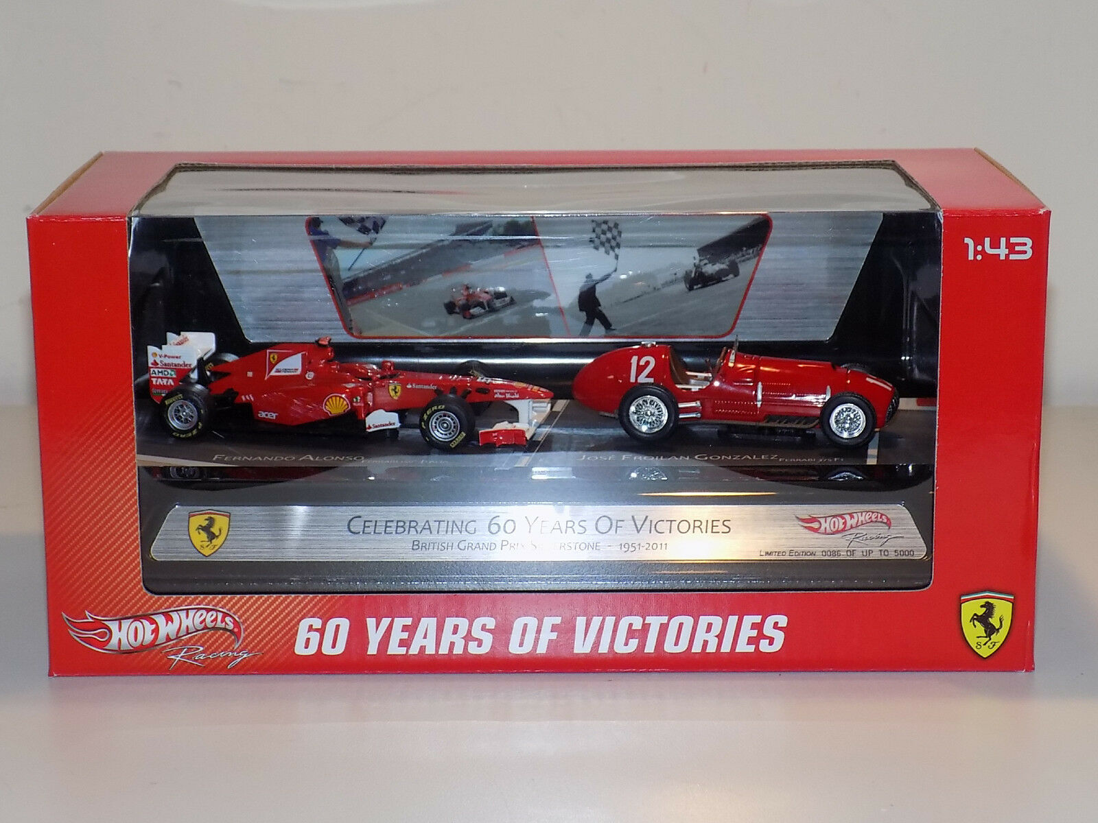 1/43 Mattell Mattell Mattell Hot Wheels F1 Ferrari 375 and 150 Italia 2 CAR SET British GP 1st 74e69f