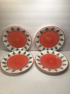 4-PIER-1-CHRISTMAS-TREE-ORANGE-SWIRL-HAND-PAINTED-DINNER-PLATES-9-5-8-039-039
