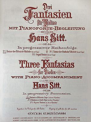 für Violine und Pianoforte Sitt Drei Fantasien