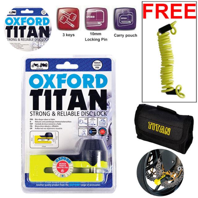 Oxford Motorbike Motorcycle Titan Disc Lock Brake Yellow OF51 +1.5 Free Reminder