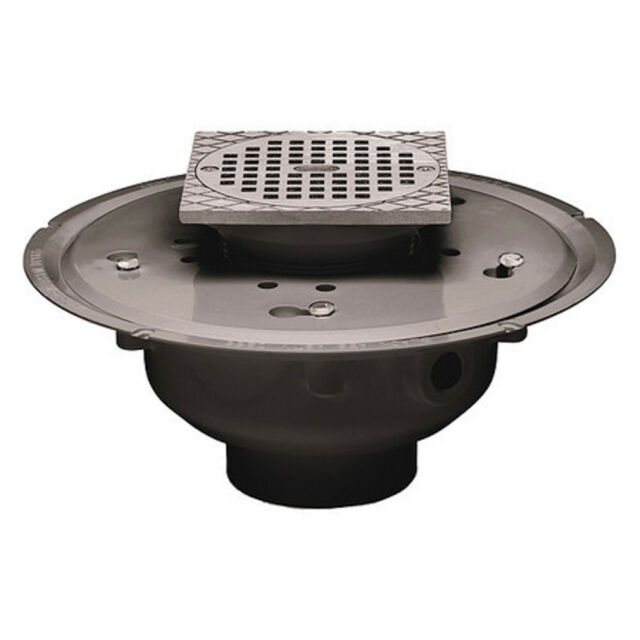 2-Inch Oatey 72323 PVC Adjustable Commercial Drain with 5-Inch Cast CHR Grate and Round Top