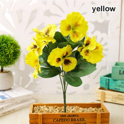 Party Wedding Floral Decor Pansy Flower Plant Bunch Artificial Silk Bouquet