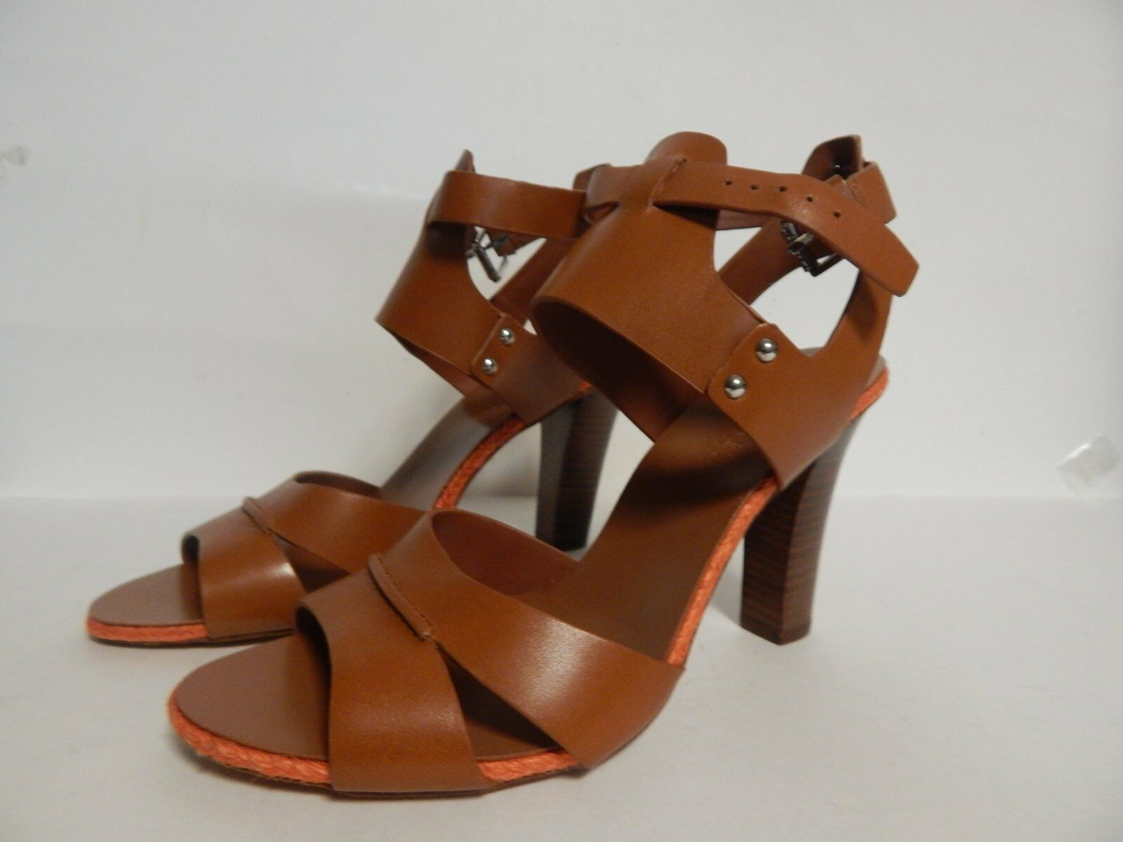 Ralph Lauren Lola Open  Toe Strappy Sandal 8M Polo Tan Leather New with Box  designer online