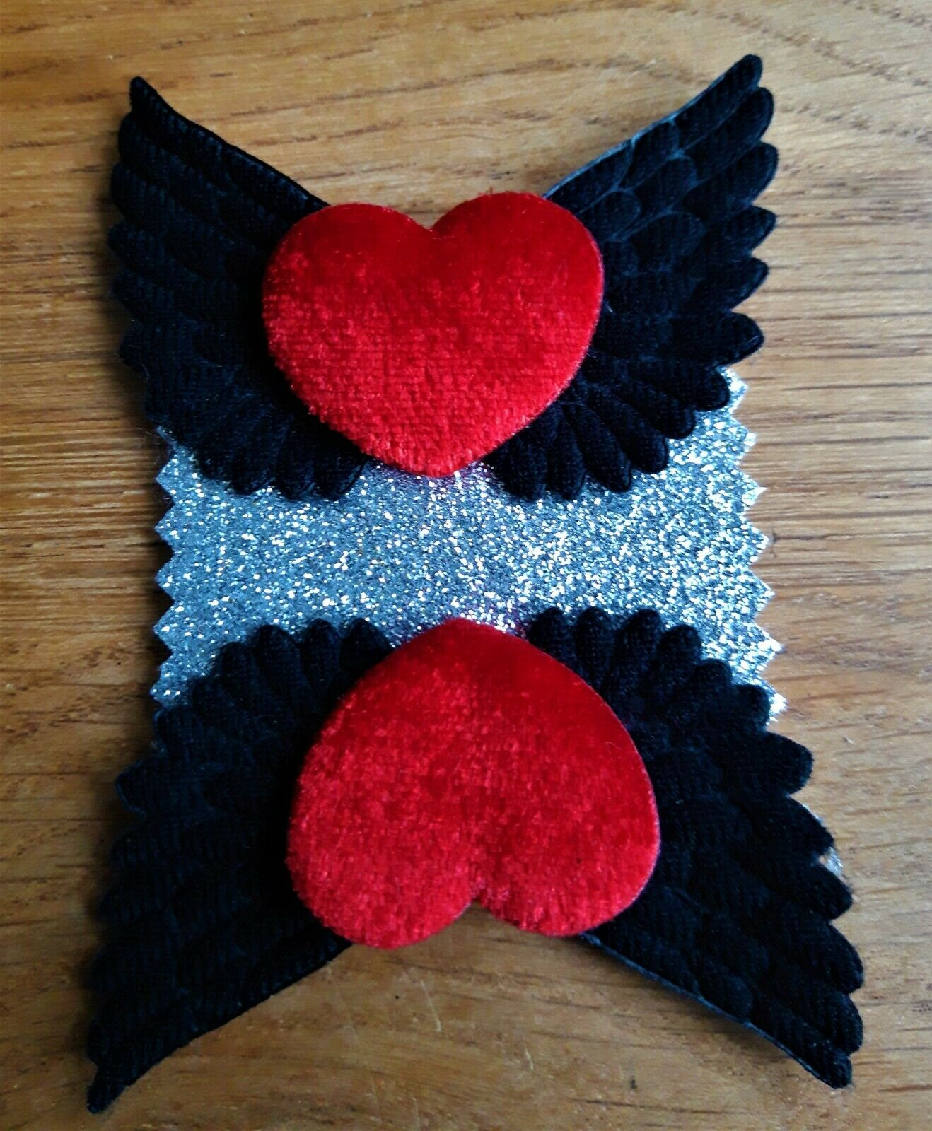 Red Velvet Hearts and Black Winged Shoe Clips - Rock'n'Roll Bride