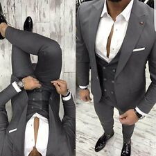 DESIGNER SUIT BUSINESS GRAU HERRENANZUG SAKKO HOSE WESTE TAILLIERT SLIM FIT 52