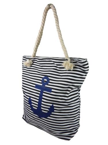 Strandtasche Badetasche Streifen Anker Shoppertasche Shopper Stofftasche 1604