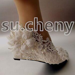 Image Is Loading 2 Wedge Heel White Light Ivory Pearl Crystal