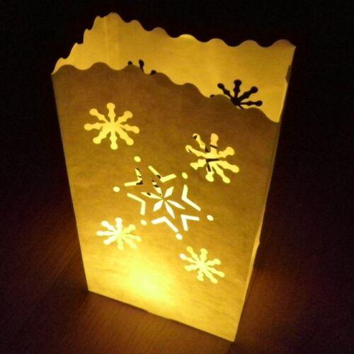 Flocon Bougie Sacs-un pack de 10 neige et Star luminaire papier lanternes 26cm