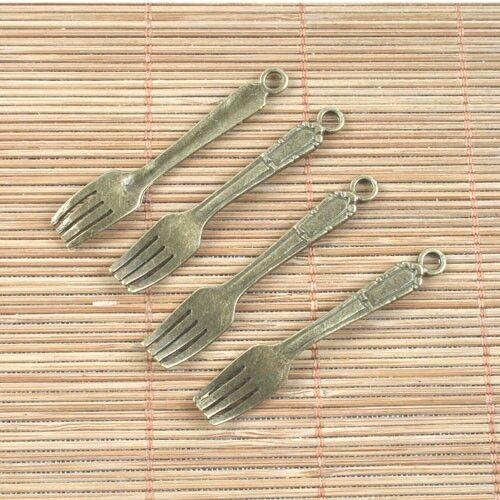 10pcs antiqued bronze fork pendant h5049