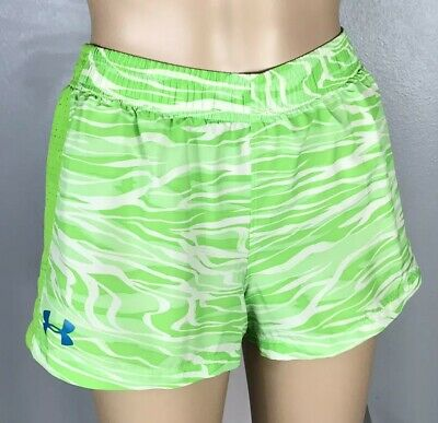 Under Armour Girl S Youth Medium Green Zebra Print Heatgear Loose Shorts 1254998 Ebay