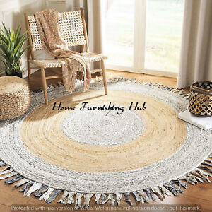 Indian Jute Area Carpet Braided Natural