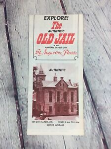 Vintage Travel Brochure The Authentic Old Jail Florida Souvenir Paper / Map