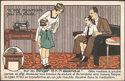 Ancienne pub Singer 15 K 26 Aix en Provence C.P machine à coudre