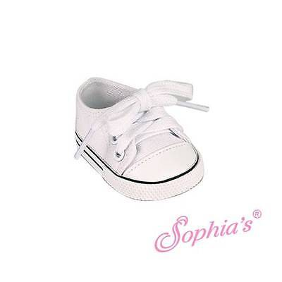 "WHITE Low Top Sneaker Canvas fit American Girl 18"" doll shoes sneakers lo"