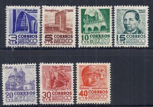 1950-1951 Mexico SC 856-862 Short Set Definitives Wmk 279, Set of 7 MNH*