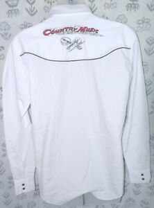 ELY COUNTRY CHARMERS Women's Medium White COUNTRY MUSIC LS Pearl Snaps Shirt EUC