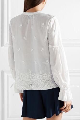 NWT $179 Designer J.CREW Falling Blossoms Broderie Anglaise  SHIRT  White