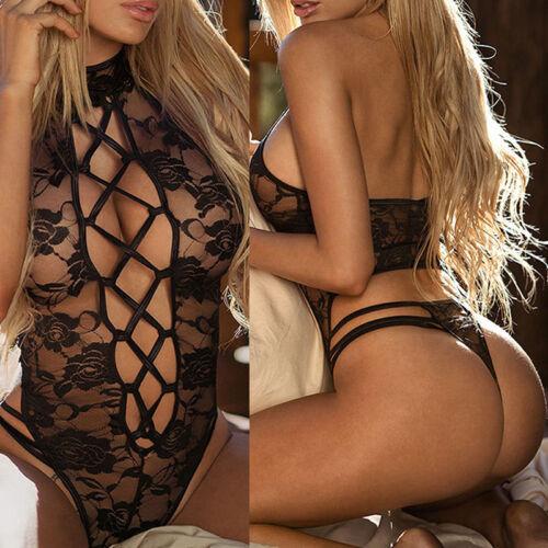 Women/'s Lace Lingerie Nightwear Underwear G-string Babydoll Sleepwear JumpsuitQP