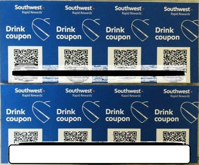 (QTY 8) SOUTHWEST AIRLINES COUPONS DRINK VOUCHER EXP 10/31/2020 FAST SHIPPING