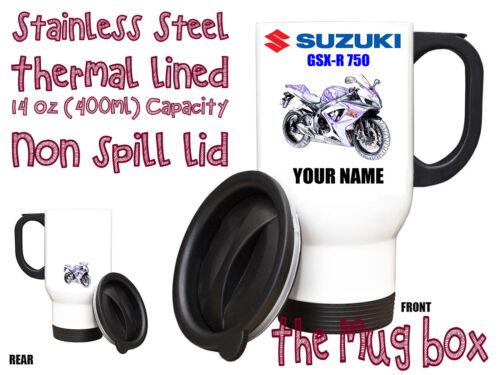 MB141 Suzuki GSX-R750 Personalised Thermal Steel Mug Perfect Gift!