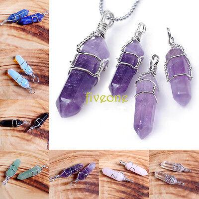 Natural Quartz Crystal Healing Point Chakra Gemstone Pendant For Necklace DIY