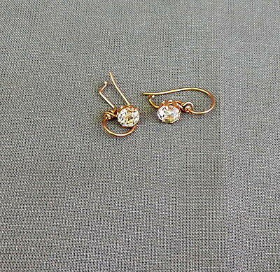 "Vintage Antique Victorian GF Pierced Drop Earrings ""White Barrios Diamonds"""