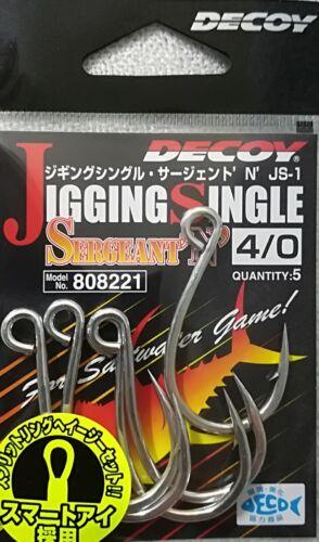 NEW DECOY JIGGING SINGLE SERGEANT JS-1 HOOK SIZE 4//0 MADE IN JAPAN