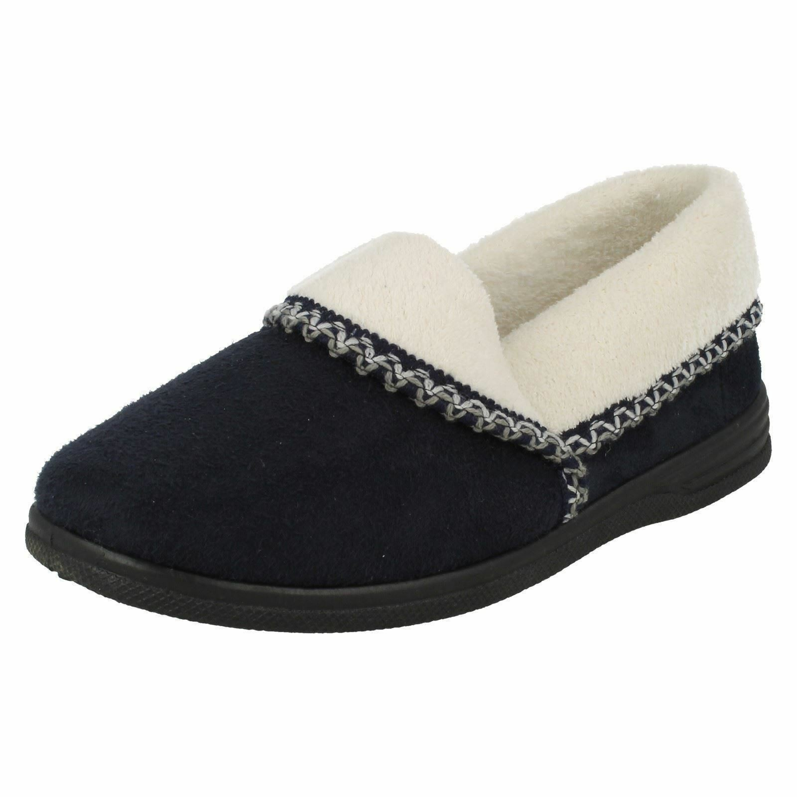 ***SALE***Sand<wbr/>piper &#039;ila&#039; Ladies Navy Warm Lined Comfort House Slippers