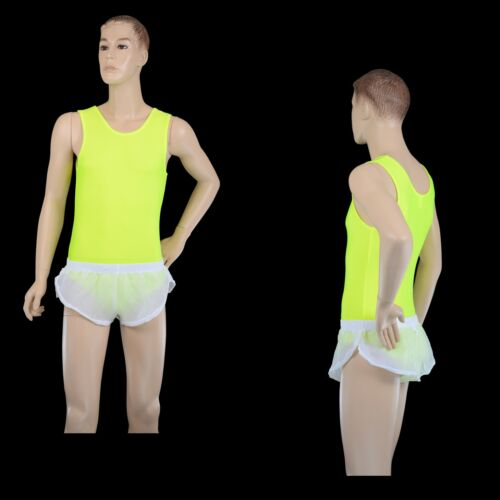 Athletics Gym Running Mens Sheer Transparent White Poly Nylon Sprinter Shorts