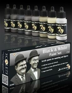 Scale-75-Black-amp-White-Colours-Acrylic-Paint-Set-8-Bottles