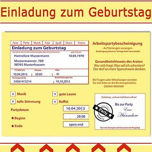 Das Bild Wird Geladen Einladungskarten Zum Geburtstag Witzig Amp Originell  Einladung Krankenschein
