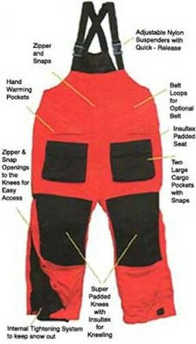 Arctic Armor Floating Extreme Weather Bibs Red XL