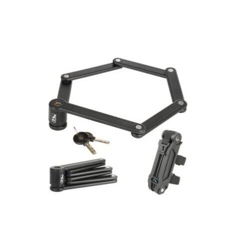 Halterung und 2 Schlüssel M-Wave FALT Schloss F 850 schwarz 6 Stahlglieder inkl