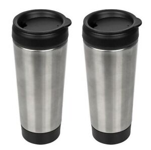 Details about 2x Stainless-Steel Travel Tumblers with Push Lids, 14 oz   Insulated Coffee Mugs