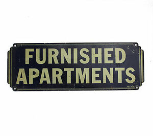 Vtg Antique 20s 40s Metal Sign For Rent FURNISHED APARTMENTS Studio Art Deco 30s