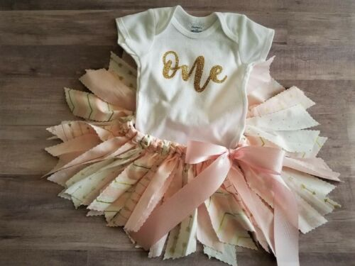 """/""""Wild One/"""" First 1st Birthday Baby Girl Outfit Pink /& Gold /""""One/"""""""