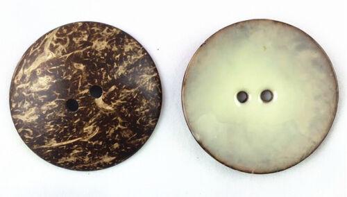 Émail de noix de coco Grand Manteau//Sac Bouton Couture Scrapbooking 63 mm 2 trous