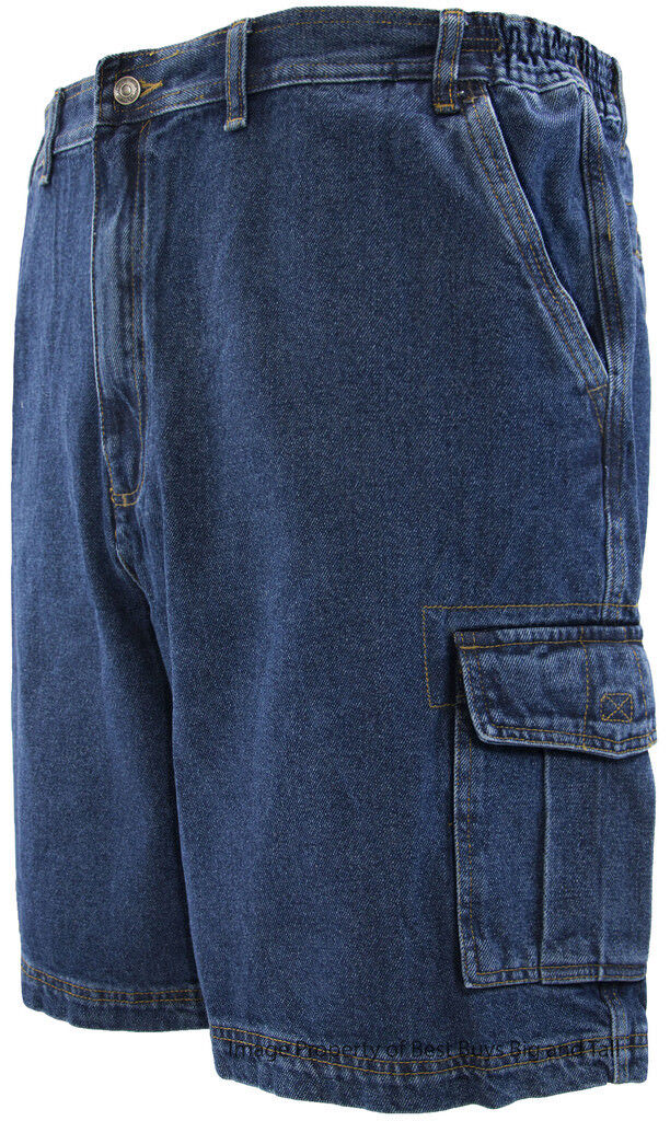 Big & Tall Men's Denim Cargo Shorts by Full bluee Sizes 44 - 72