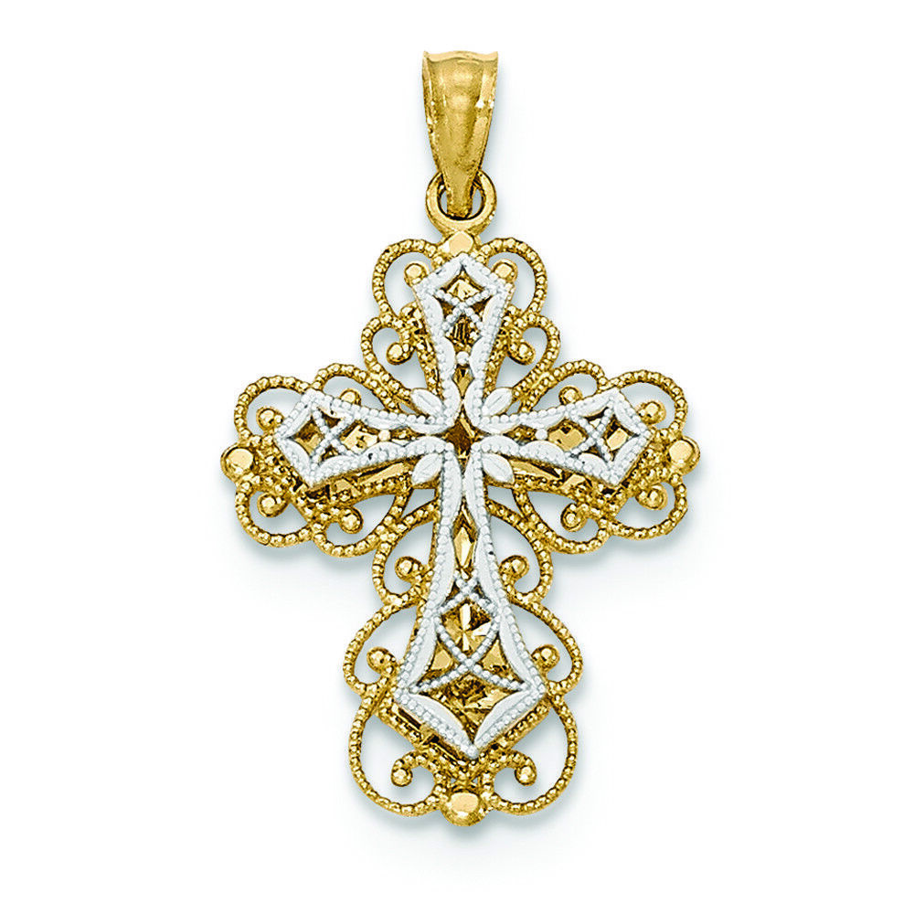 14K Two-tone gold 2 Level Filigree Fleur De Lis Cross Charm Pendant MSRP  245