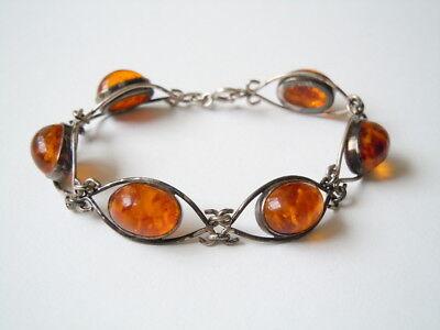 Learned Antikes Fischland Bernstein Armband Armkette 835 Silber 14,1 G/18,5 Cm Fine Jewelry