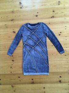 Hugo Boss Damen Kleid Strickkleid Wolle blau-grau meliert ...
