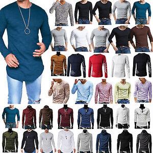 uomo-slim-maniche-lunghe-T-Shirt-Camicia-casual-maglione-maglia-maglietta