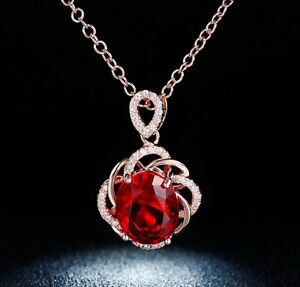 Created-Red-Ruby-Necklace-Pendant-Gemstone-14k-Gold-16-034-Chain