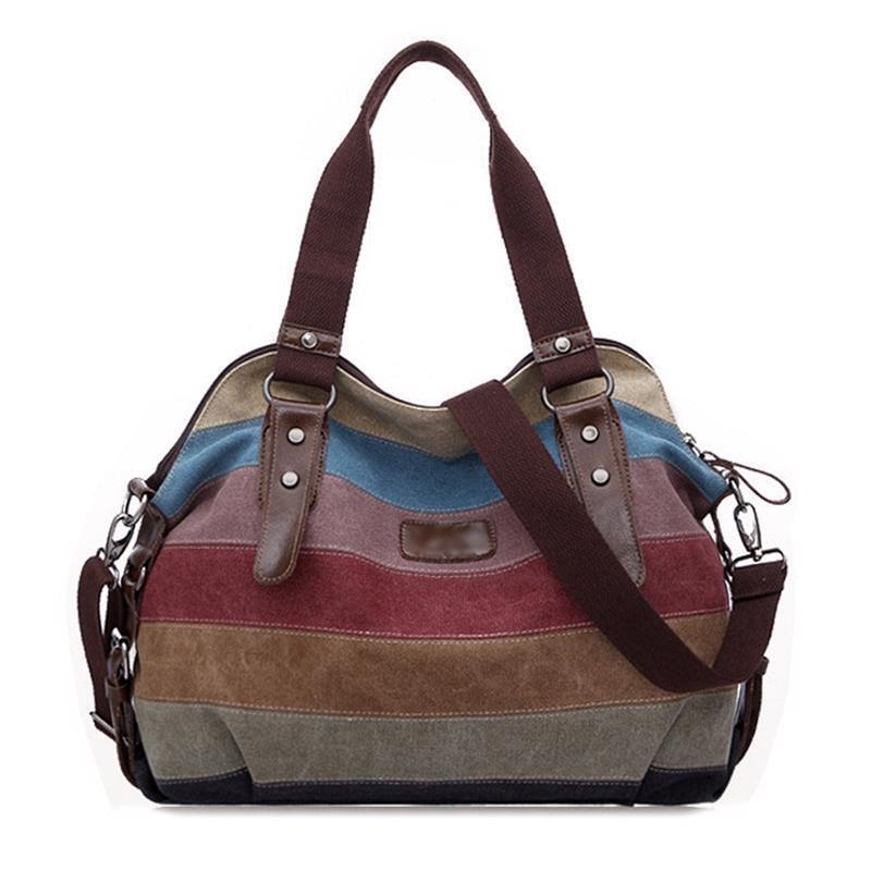 Women's Canvas Handbag Hobo Bag Rainbow Striped Cross Body Purse Tote Satchel